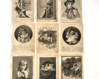 Lot  Antique 1800's book pages child Children illustration engraving The Childs Companion London ephemera