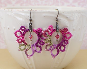 Pink Lace Earrings-Tatted Lace Earring-Teen Jewelry-Beaded Dangles-Lacy Ear Adornment-Pink Purple Lace-Tatting-Prom-Bridesmaid Gift-Spring
