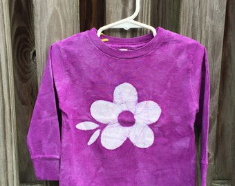 Flower Girls Shirt, Purple Girls Shirt, Purple Flower Girls Shirt, Purple Flower Shirt, Girls Flower Shirt, Toddler Girls Shirt (2T)