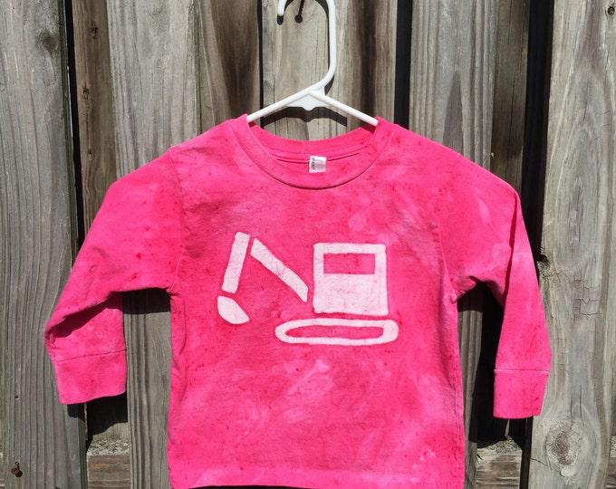 Featured listing image: Pink Truck Shirt, Girls Truck Shirt, Kids Truck Shirt, Pink Digger Shirt, Pink Boys Shirt, Excavator Shirt, Construction Truck Shirt (3T)