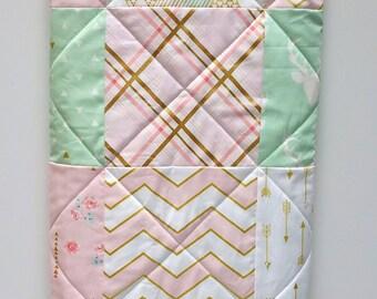 Pink Baby Quilt-Mint-Modern Baby Girl Quilt-Woodland-Brambleberry-Glitz Gold Metallic Shimmer-Chevron-Arrows Patchwork Baby Bedding
