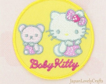 Hello Kitty & Blue Bow Patch, Kawaii Sanrio Embroidered Iron On Patch, Japanese Cute Iron on Applique, Made Japan, Embroidery Applique, W211