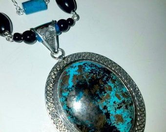 Reserved for Suzanne          Azurite Chrysocolla Pendant and Necklace