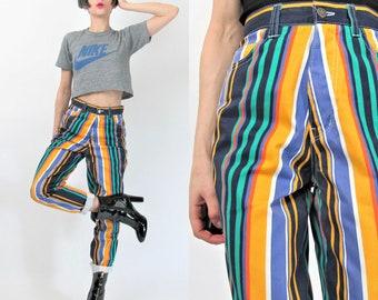 1990s Rainbow Striped Pants High Waist Pants Bright Mom Jeans Multi Color Trousers Colorful Hip Hop Club Kid Skinny Pants (XS/S) E2022