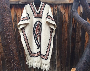 Vintage Women's poncho horse design Mexican wool serape blanket pull over jacket, poncho Mens, festival clothing, hippie clothing bohemian
