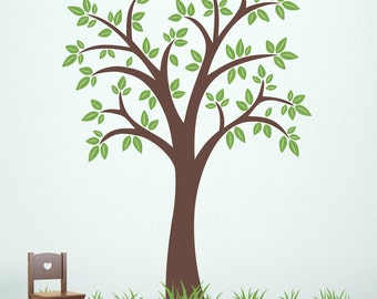Tree Wall Decal with Grass - 80 inch Tree - Tree Decal Set - Grass Wall Stickers - Ver. 2