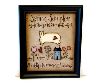 Primitive Spring Bunny Sampler, Handpainted 8x10 Canvas, Framed or Unframed,  Hand Painted Prim Home Decor,  Tole Decorative Painting