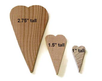 "2.75"", 1.5"", or 1"" Tall Unfinished Primitive Folk Art Wood Hearts in Lots of 20-50 , Ready to Paint DIY Wooden Hearts"