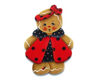 Ladybug Ginger Ornament or Fridge Magnet, Handpainted Wood Gingerbread Refrigerator Magnet, Tole Decorative Painting