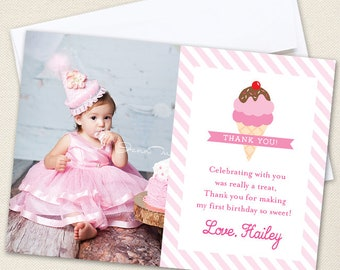 Ice Cream Party Photo Thank You Cards - Professionally printed *or* DIY printable