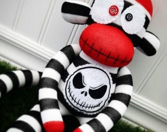Striped Skeleton Sock Monkey with OPTIONAL name customization