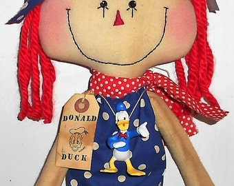 DoNaLd DuCk AnNiE DoLL HaNdMaDe Primitive RAGGEDY ANN/Annie Doll With Disney Donald Duck Necklace & Tag Hafair