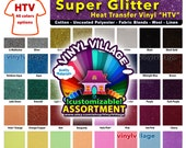 "5 sheet 6""x12""  Super Glitter Heat Transfer thermal press vinyl, T- Shirt film for craft or sign cutter, die punch cut,  +- 1/4"
