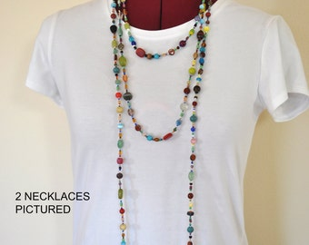 """Beaded NECKLACE - Long 25"""" (50"""") Multiple Primary Colors Orange Aqua Blue Teal Amber Seed Bead Glass Bead - Goes with Everything Necklace 63"""