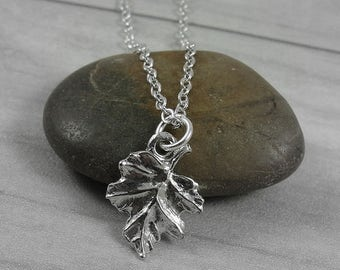 Oak Leaf Necklace, Silver Oak Leaf Charm on a Silver Cable Chain