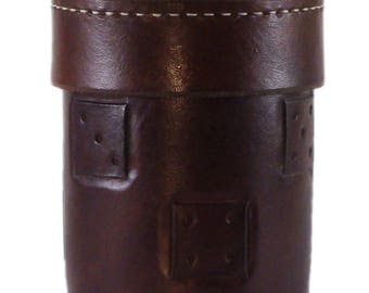 Leather Dice Cup with Dice Patterns
