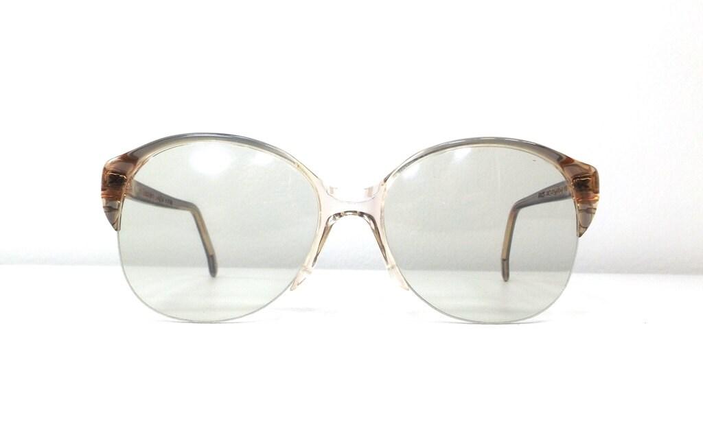 08899ffb51 vintage 70s oversize round eyeglasses blue peach translucent plastic frames  half rim eyewear eye glasses italian