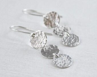 Sterling Silver Disk Earrings, Long Dangle Earrings, Three Discs Dangling, Shiny Hammered