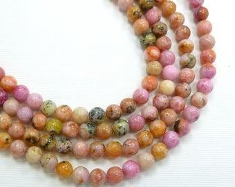 6mm Round Purple Moss Jasper Semi Precious Stone Beads, Full Strand