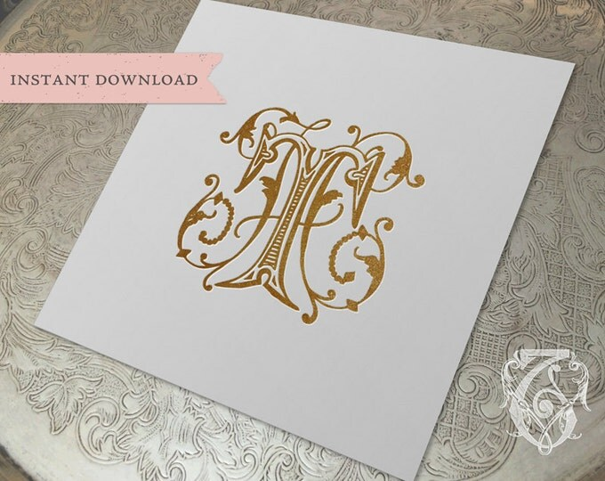 Vintage Wedding Monogram HT TH Digital Download  H T
