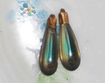Vintage Glass Drops Pendant Drop Charms Oblong Pendalogue Saphiret Color. #1029F