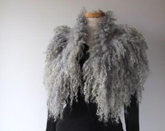 Curly Felted  collar,   Grey felt collar,  Grey Fur scarf,  Pure Real Wool Fleece, white Felt necklace , Eco fur collar by Galafilc