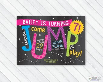 Jump Party Invitation, Bounce House Invitation, Pump it Up, Sky High Birthday Party - Boy or Girl Birthday - PERSONALIZED & PRINTABLE