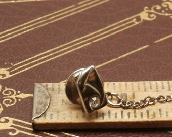 Vintage Silver Toned with Clear Stone Mid Century Era Tie Tack, Tie Pin