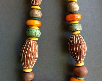 Chunky African Barkcloth Necklace w Antique Green Hebrons Moroccan Copal Amber and Naked Brown Clay Earthy Colors Ethnic Boho Jewelry