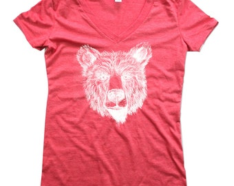 Vneck - Womens Polar Bear Vneck Tshirt - bear shirt - Red bear vneck tshirt - Bears - In Small, Medium, Large and XL