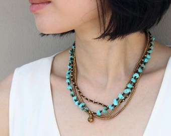 Beaded Necklaces Woven Turquoise Strand Layer Brass