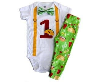 Fiesta Birthday Shirt Boy, Taco Birthday, Taco Bout a Party, Boy Birthday,Taco Leggings/Shorts, Cake Smash, 1st Birthday Outfit for Baby Boy