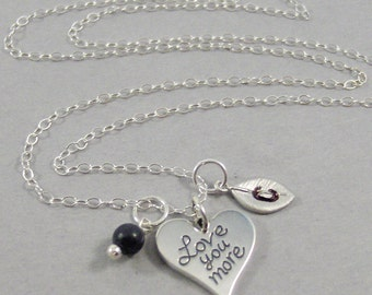 Sterling Love You More,Love Necklace,Sterling Silver Necklace,Heart,Heart Necklace,Initial leaf,Sapphire,Sapphire Necklace,Wedding Jewelry