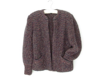 Mohair Wool Jacket * Vintage 80s Sweater Coat * Chunky Knit Cardigan Sweater * Large