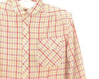 Vintage Plaid Blouse * 70s Plaid Shirt * Vintage 1970s Shirt * Medium