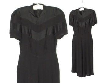 Vintage 30s Dress * 1930s Dress * Black Evening Dress * Crepe Satin Dress * Small - Medium
