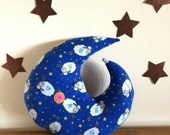 moon pillow, baby pillow, crescent moon, nursery, flannel cotton, baby gift, baby shower, lunar nursery