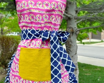 Women's Pink and Navy Reversible Apron