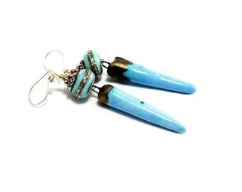Light Blue Lampwork Earrings. Cerulean Blue Earrings. Long Dangle Earrings. Boho Ethnic Earrings. Gifts For Her. Glass Bead Jewelry.