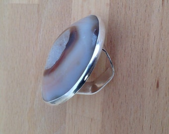 Minerale Agate Great Gemstone, Sterling Silver  Unique Ring