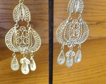 SILVER FILIGREE Chandelier Earrings Vintage Gorgeous Screwback Boho Ethnic