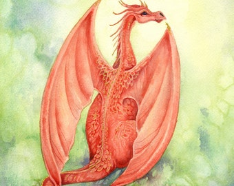 Dragon Art Original Watercolor Painting - Vermillion - fantasy. whimsical. red. crimson. gold. fiery. cute. playful. wings.