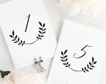 Wreath Monogram Table Numbers - 4x6""