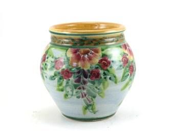 Blue Stoneware Flower Vase - Pottery Flower Pot - Floral Design and Red Porcelain Trim - OOAK