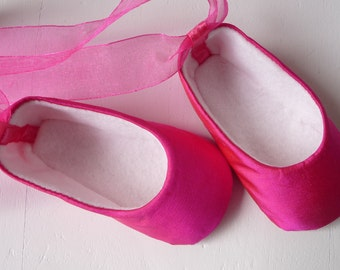 Baby Girl Shoes . Hot Pink SILK Ballet Flats . Baby Ballerina . Infant Ballet Slippers . Fuschia Dress Shoes . Nursery Decor. Shower Gift