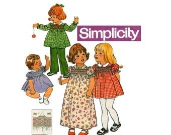70s Retro Toddler Girls Smocked Babydoll Dress Tunic & Pants Pattern Simplicity 7239 Vintage Sewing Pattern Size 3 UNCUT Factory Folded