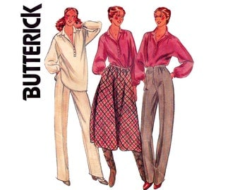 80s Shirt Skirt Pants Pattern Butterick 6327 Rena Rowan Vintage Sewing Pattern Size 16 Bust 38 inches UNCUT Factory Folds