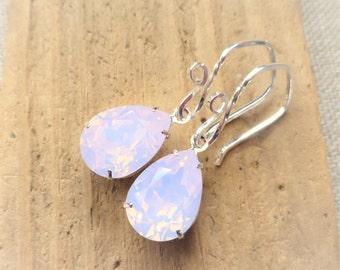 Pink Opal Swarovski Crystal Earrings, Light Rose Pink Rhinestone Pear Earrings, Sterling Silver Teardrops, Bridesmaid Gifts, Wedding Jewelry