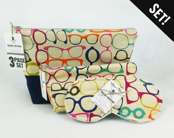 Glasses Toiletry Bag Set Makeup Bag Sleep Mask Travel Accessory Optometry Dopp Bag Optometrist Gift Zipper Bag Cosmetic Pouch Nerdy Gift