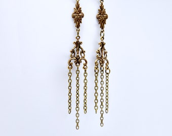Antique Brass Fringe Earrings, Chandelier Earrings, Long Chain Earrings, Chain Fringe Earrings, Bohemian Dangle Earrings, Statement Earrings